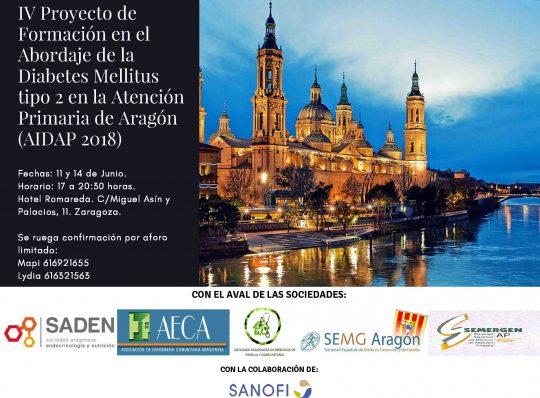 IV PROYECTO DE FORMACIÓN EN EL ABORDAJE DE LA DIABETES MELLITUS TIPO 2 EN LA ATENCIÓN PRIMARIA DE ARAGÓN (AIDAP 2018)
